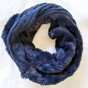 Sweater and faux fur infinity scarf
